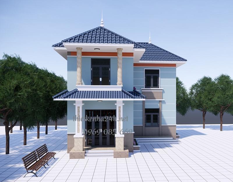 Mẫu biệt thự mái thái chữ L phong cách hiện đại tại Thanh Hóa