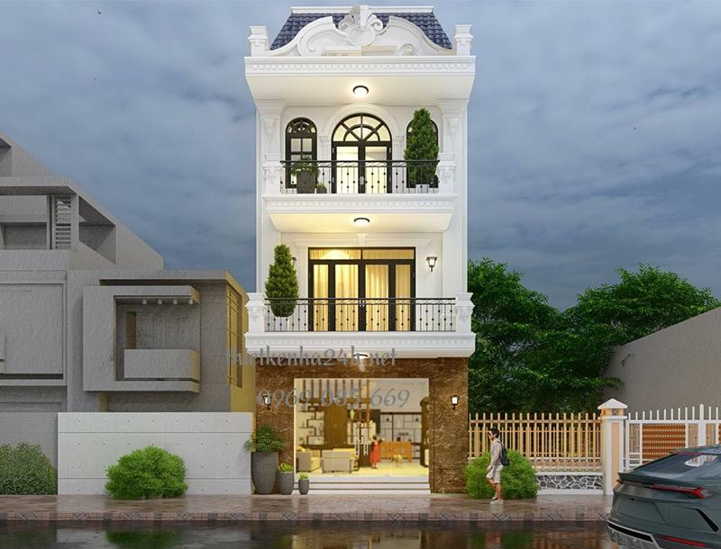 Nhà phố 3 tầng phong cách tân cổ điển nhà anh Đức tại Hà Nội