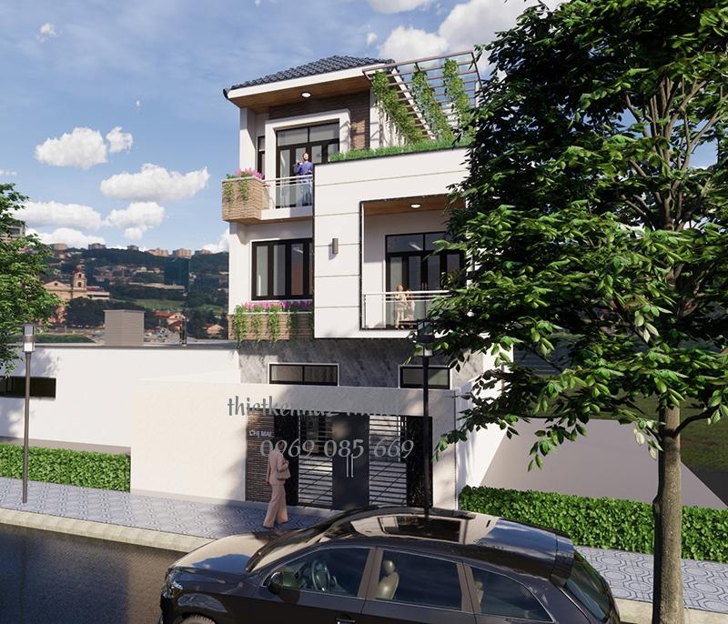 Mẫu nhà phố 3 tầng mái thái độc đáo tại Thái Nguyên
