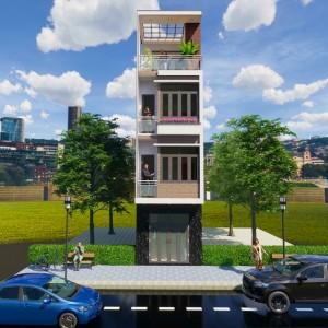 Thiết kế nhà phố 3 tầng 1 tum phong cách hiện đại tại Nam Định