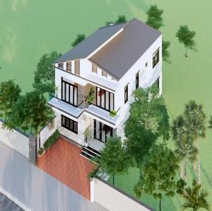 Mẫu nhà ống mái lệch 2 tầng hiện đại, ấn tượng tại Hà Nội