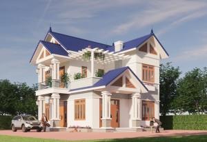 Thiết kế biệt thự hiện đại 2 tầng mái ngói tại Ninh Bình