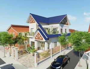 Thiết kế biệt thự hiện đại 2 tầng mái thái giật cấp tại Quảng Bình