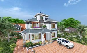 Thiết kế biệt thự hiện đại mái thái sang trọng tại Sóc Sơn, Hà Nội