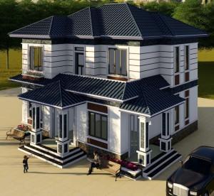 Thiết kế mẫu nhà 2 tầng mái vát tại Sông Lô Vĩnh Phúc