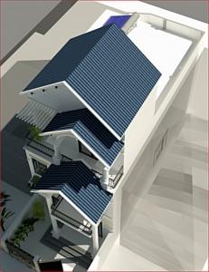 Mẫu nhà ống 3 tầng mái thái giật cấp tại Gia Lâm Hà Nội