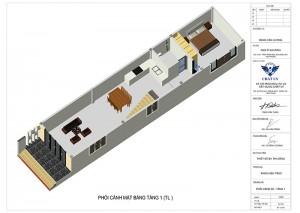 Mẫu nhà ống 2 tầng 1 tum phong cách hiện đại 3 phòng ngủ
